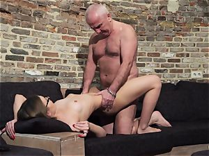 grandpa gets stiffy sucked and moist sumptuous little woman