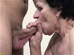 72 years senior fur covered grandma raunchy porked