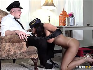 messy air hostess Lezley Zen makes sure the customer is pleased