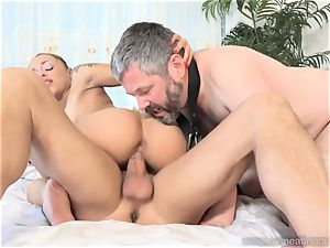 Holly Hendrix Cuckolds hubby and Makes Him slurp jizz