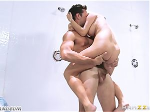 raunchy hook-up after exercise in the men's locker room