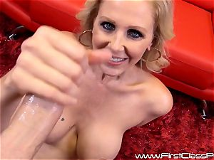 horny cooch pot cougar Julia Ann blowing on a immense salami and getting a gigantic flow to her boobs