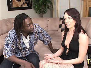 Dana nails gigantic dark-hued spunk-pump in Her widely opened slot