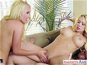 Blondes Aaliyah love and Kagney Linn Karter share manstick