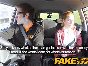 faux Driving school cute red-haired Ella Hughes penetrates