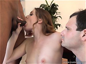 Stacy LeAnn enjoys Her husband fellating black pecker