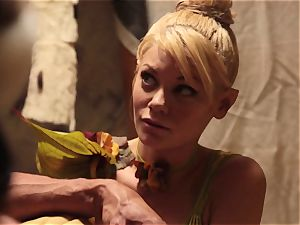 Riley Steele and Vicki haunt in parody three-way