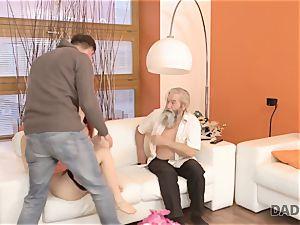 DADDY4K. boy and his elderly parent team up to punish slutty gf