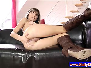 dark-haired unexperienced diminutive babe poked
