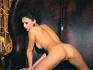 slim petite Ariana Marie super-sexy rubber solo getting off