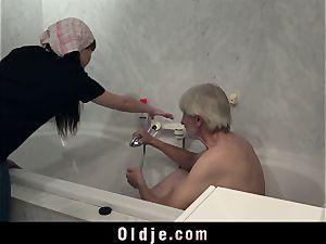 Maid loves drilling elderly pecker in furry slit