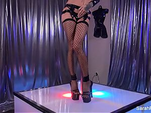 Stripper Sarah takes a giant wood from a client