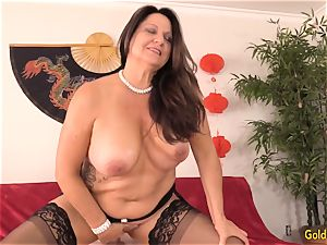 tearing up Mature black-haired Leylani spear