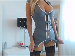 extraordinaire cougar in Uniform With massive mammories Plays with her dildo