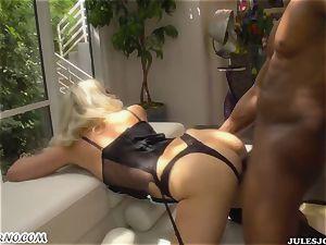 ebony punishes crazy white maid Anikka Albrite