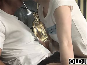 Her youthful honeypot Gets screwed aged fellow an Gets jism On jugs