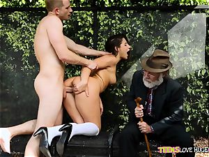 hilarious situation of vag inserted daughter-in-law and her grandpa watches at bus stop - Abella Danger and Bill Bailey