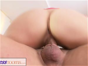 sport rooms romp hungry platinum-blonde Russian cougar fellate