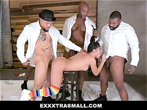 ExxxtraSmall - 4 black boys tearing up puny female