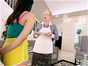 Valentina Nappi beaten in her minge with her grannie sleeping in the apartment