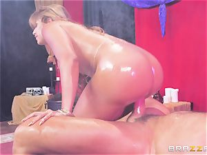 Oily butt wedged Mercedes Carrera