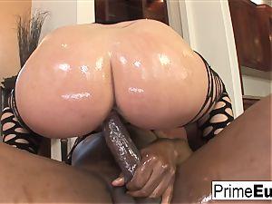 enormous boob dark haired Sophie Dee has interracial fun