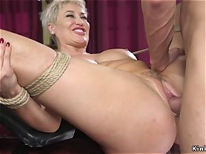 blondie cougar in restrain bondage raunchy romped