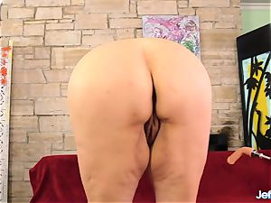 large brunette Danni Dawson plumbed by a faux-cock Machine After deep-throating It