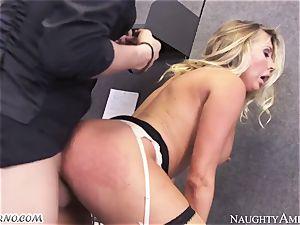 splendid female-boss exploits her employees