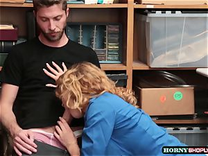 Krissy Lynn searches draped shoplifter and rides his penis