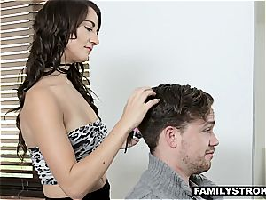 Hair stylist humps her nerdy stepbrother