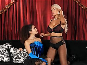Bridgette B puts warm secretary Lana Lovelace through her paces