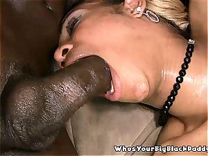 black cutie delectation Bunny takes cum in her cooch