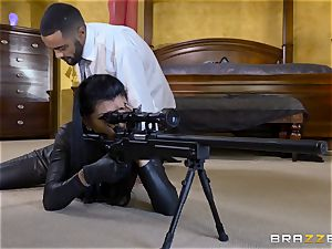 tough in rubber Romi Rain gets fucked by 3 super-fucking-hot sausages