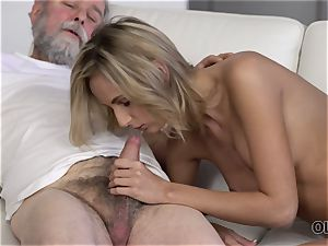OLD4K. beauty takes part in spunky intercourse with mind-blowing elderly dad