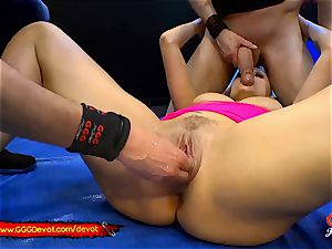 going knuckle deep and spurting in a peeing gang-fuck For mummy