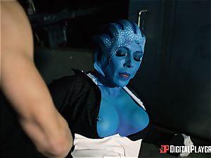 Space porn parody with scorching alien Rachel Starr