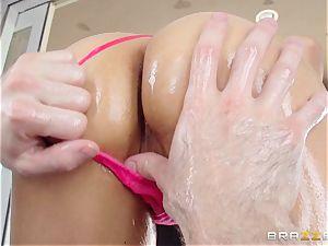 Sarah Vandella endures an oily rectal nailing