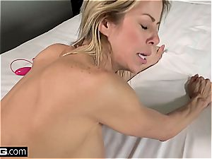 nasty mummy with enormous boobs gets splashed with jizz