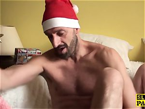 brit bbw slave dominated with christmas man-meat