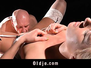 wonderful gonzo youthful tart penetrate oldman with enjoy