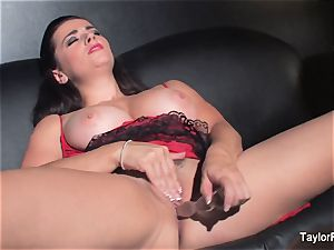 Naturally big-chested Taylor toys her raw muff