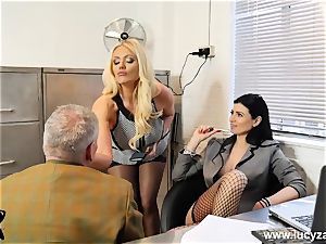 luxurious bosses turn office perv into foot idolize marionette