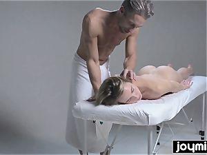 Joymii super hot blonde gets decorated in jizz after her massage