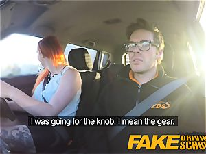 fake Driving school inked sandy-haired craves a large bone