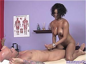 killer dark-hued masseur providing some additional relief