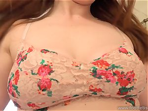 splendid sandy-haired in stockings Has soles and snatch boned