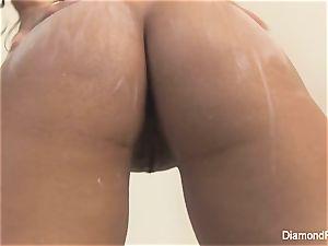 big-chested Diamond kitty massages her moist slit