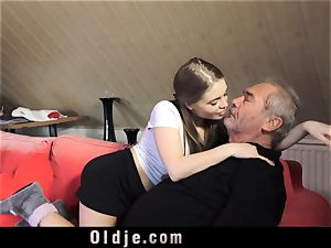 Russian gal deep-throat The dick of an aged grandfather