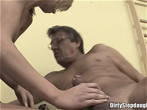 brief Haired blonde Stepdaughter screwed In stockings